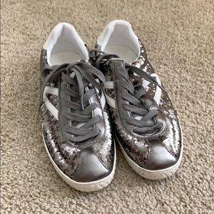 Tretorn Camden 5 Silver Sequin Fashion Sneaker